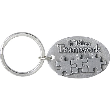 Pewter Key Chain with Puzzle Pieces, It Takes Teamwork