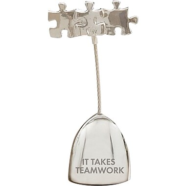 Silver Memo Holder with Puzzle Pieces, It Takes Teamwork