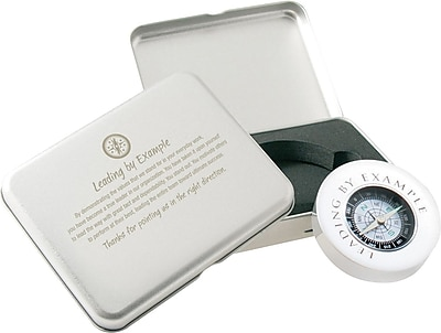 Silver Compass Gift Set with Brush Aluminum Case