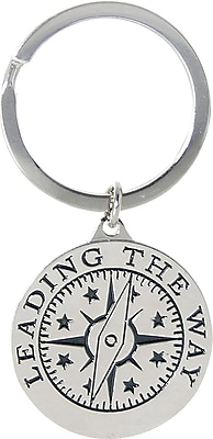 Nickel Finish key chain with Compass Graphic, Leading by Example