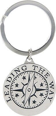 Baudville® Nickel Finish key chain with Compass Graphic,