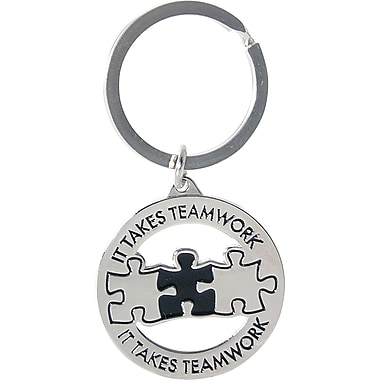 Nickel Finish key chain with Puzzle Piece Graphic, It Takes Teamwork