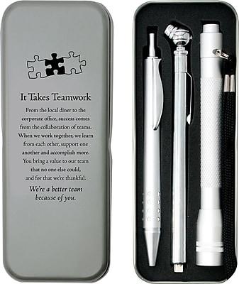 Silver Tire Gauge, Flashlight and Pen Gift Set, It Takes Teamwork