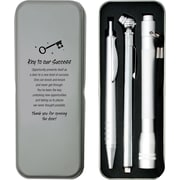 Silver Tire Gauge, Flashlight and Pen Gift Set, Key to Success