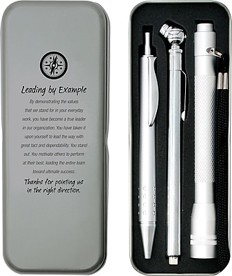 Silver Tire Gauge, Flashlight and Pen Gift Set, Leading by Example