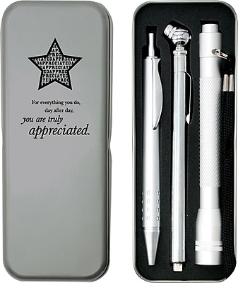 Silver Tire Gauge, Flashlight and Pen Gift Set, You Are Truly Appreciated