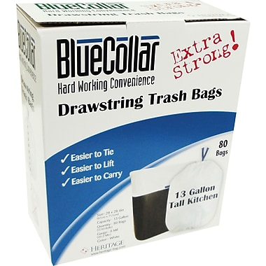 Heritage Blue Collar Extra Strong Can Liners, 13 Gallons, 0.80 mil., White, 24