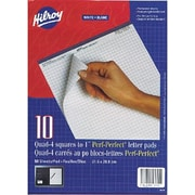 Hilroy - Bloc-notes avec perforations, 8-1/2 po x 11 po, quadrillé, blanc, 50 feuilles, paq./10