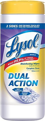 Lysol® DUAL ACTION™ Disinfecting Wipes, Citrus Scent, 35 Wipes/Tub