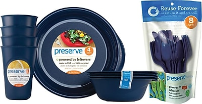 Preserve Everyday Tableware & Cutlery Set, Midnight Blue, 36-Piece Set 104035