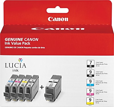 Canon PGI-7BK Black and PGI-9 PBK/C/M/Y Color Ink Cartridges (1034B010), Combo 5/Pack