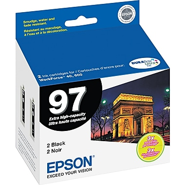 Epson 97 Black Ink Cartridges, Extra High Capacity, 2 Pack (T097120-D2)