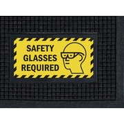 """M + A Matting Waterhog™ Sign Mat """"SAFETY GLASSES REQUIRED"""", 3' x 5', Horizontal, Cleated (1482413)"""