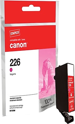 Staples® Remanufactured Inkjet Cartridge, CLI-226 (4548B001), Magenta