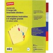Staples® - Gros onglets insérables, de couleur, 5 onglets, paq./4