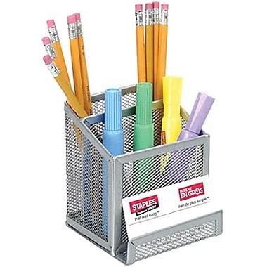 Staples® - Godet à crayons et porte-cartes professionnelles en mailles métalliques, ton argent