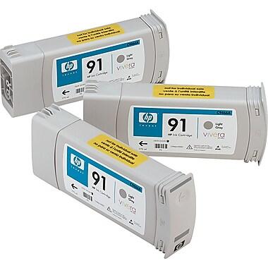 HP 91 Light Gray Ink Cartridges (C9482A), 775ml, 3/Pack