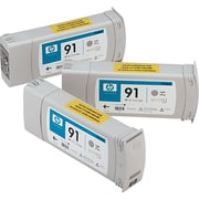 HP 91 (C9482A) Light Gray Ink Cartridges, 775 ml, 3/Pack