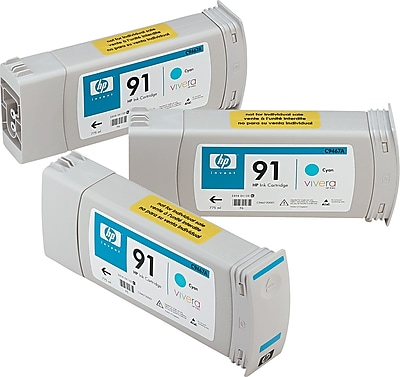 HP 91 Cyan Ink Cartridges (C9483A), 775ml, 3/Pack
