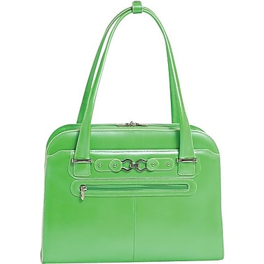 Mcklein W Series Oak Grove Ladies Genuine Cowhide Leather Fly-Through Checkpoint-Friendly Laptop Briefcase, Green (96631)