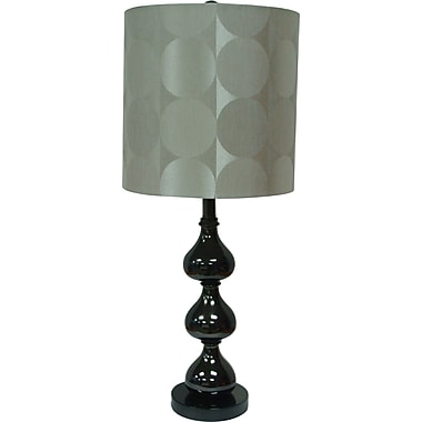 Fangio Black Nickel Metal Table Lamp w/ Acetate Geometric Design Drum Shade