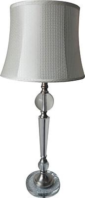 Fangio Metal & Crystal Buffet Lamp in Chrome w Acetate Diamond Pattern Drum Shade