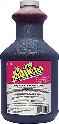 Sqwincher® 5 gal Yield Liquid Concentrate Energy Drink, 64 oz Bottle, Fruit Punch
