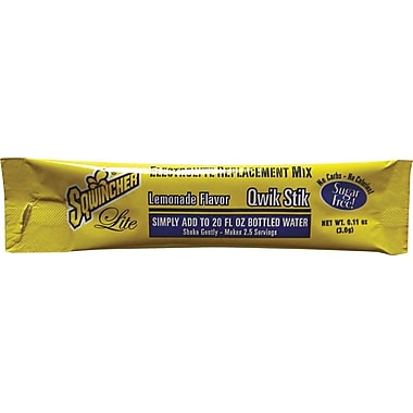Sqwincher® Lite 20 oz Yield Powder Sugar Free Energy Drink, 0.11 oz Stik, Lemonade