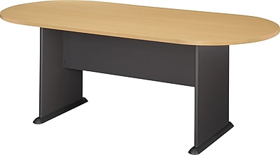 Bush Business Westfield 82W x 35D Racetrack Conference Table, Euro Beech/Graphite Gray, Installed