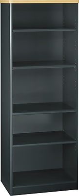 Bush Business Cubix 26W 5 Shelf Bookcase, Euro Beech/Slate, Installed