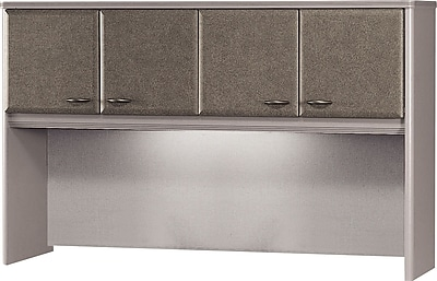 Bush Business Cubix 60W Hutch, Pewter/White Spectrum