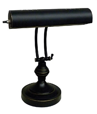V-LIGHT CFL Piano Style Desk Lamp, Satin Black With Antique Brass Accents, (CAVS100102BRS)
