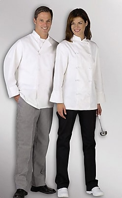 Medline Pearl Button Chef Coats, White, Large