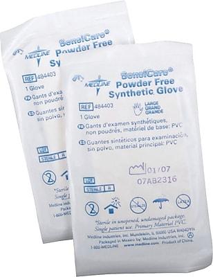 SensiCare® Stretch Powder-free Latex-free Vinyl Exam Gloves, Beige, Medium, 9