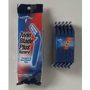 Medline Twin Blade Facial Razors with Lube Strip, Blue, 50/Box
