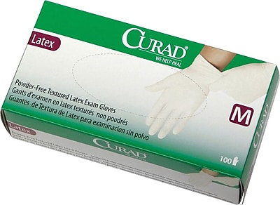 Curad® Powder-free Latex Exam Gloves, Beige, XS, 9