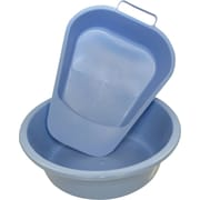 Medline Round Plastic Washbasins, Light Blue, 5 qt, 12/Pack