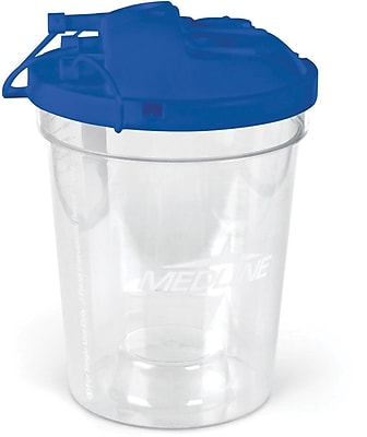 Medline Rigid Suction Canisters with Turret Lid, 45/Pack