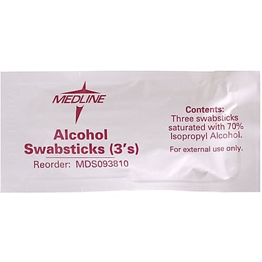 Medline Alcohol Swabsticks, 250/Pack