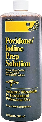 Medline Povidone Iodine Scrub Solutions, 1 qt, 0.75%, 12/Pack