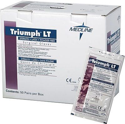 Triumph® LT Powder-free Latex Surgical Gloves, White, 6 1/2 Size, 12