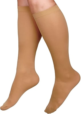 Curad® 15-20mmHg Knee High Cushioned Compression Socks, White, D Size, Regular Length, Each