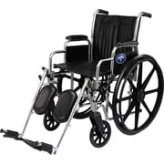 "Medline Excel 2000 Wheelchair, 16"" W x 16"" D Seat, Permanent Full Length Arm, Elevating Leg"