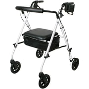 Guardian Luxe Rollators with Extra-wide Seat, White, Each