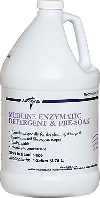 Medline Dual Enzymatic Surgical Instrument Detergent and Presoak, 1 gal Size, 4/Pack