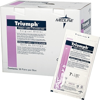 Triumph® Powder-free Latex Surgical Gloves, White, 7 Size, 12