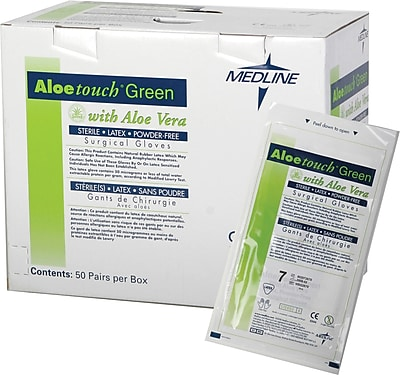 Aloetouch® Green Powder-free Latex Surgical Gloves, Dark Green, 6 1/2 Size, 12