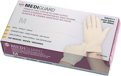 MediGuard® Stretch Synthetic Vinyl Exam Gloves, Beige, XL, 9