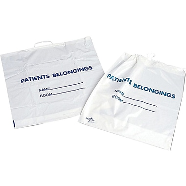 Medline Patch Handle Patient Belonging Bags, White, 250/Pack