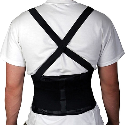 Medline Standard Back Support with Suspender, Black, Large, 34